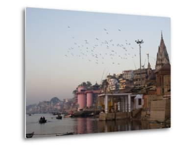 The Ganges River and Ghats of Varanasi, Uttar Pradesh, India, Asia--Metal Print
