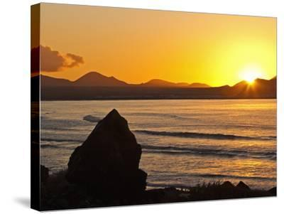 Sunset Over the Bay at Famara, Lanzarote's Finest Surf Beach, Canary Islands-Robert Francis-Stretched Canvas Print
