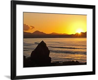 Sunset Over the Bay at Famara, Lanzarote's Finest Surf Beach, Canary Islands-Robert Francis-Framed Photographic Print
