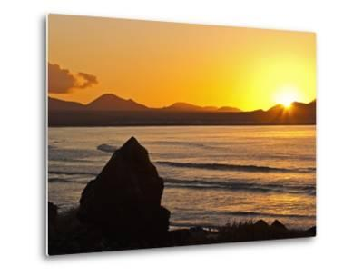 Sunset Over the Bay at Famara, Lanzarote's Finest Surf Beach, Canary Islands-Robert Francis-Metal Print