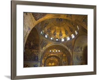 Interior of St. Mark's Basilica with Golden Byzantine Mosaics Illuminated, Venice-Peter Barritt-Framed Photographic Print