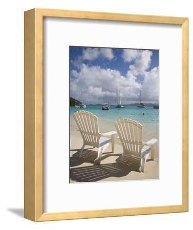 Two Empty Beach Chairs on Sandy Beach on the Island of Jost Van Dyck in the British Virgin Islands-Donald Nausbaum-Framed Photographic Print
