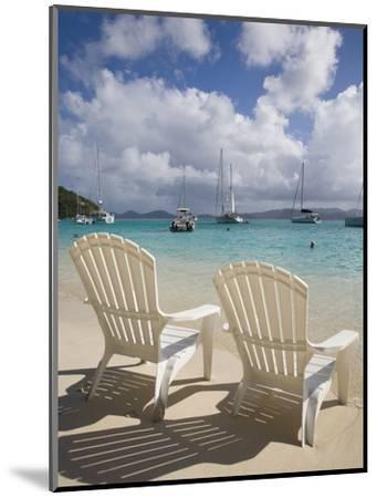Two Empty Beach Chairs on Sandy Beach on the Island of Jost Van Dyck in the British Virgin Islands-Donald Nausbaum-Mounted Photographic Print