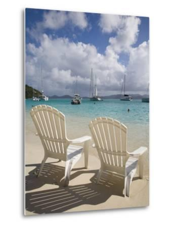 Two Empty Beach Chairs on Sandy Beach on the Island of Jost Van Dyck in the British Virgin Islands-Donald Nausbaum-Metal Print