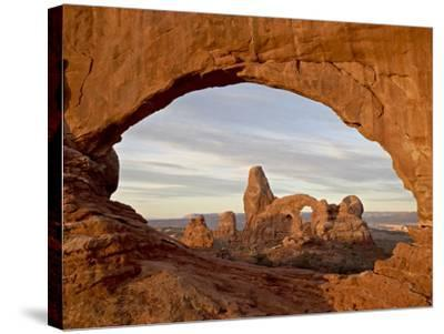 Turret Arch Through North Window at Dawn, Arches National Park, Utah, USA-James Hager-Stretched Canvas Print