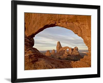 Turret Arch Through North Window at Dawn, Arches National Park, Utah, USA-James Hager-Framed Photographic Print