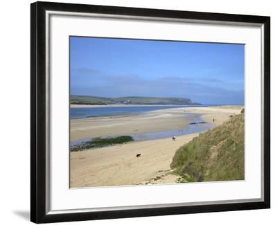 Visitors and Tourists Walking Dogs on Beach at Camel Estuary Near Rock, North Cornwall, England, Uk-Peter Barritt-Framed Photographic Print