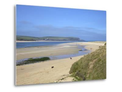 Visitors and Tourists Walking Dogs on Beach at Camel Estuary Near Rock, North Cornwall, England, Uk-Peter Barritt-Metal Print