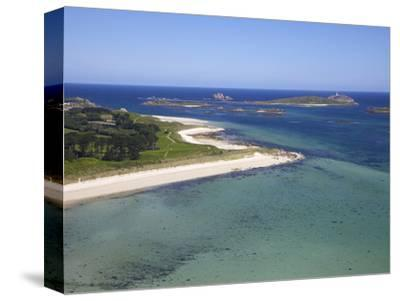 Aerial View of Tresco, Isles of Scilly, England, United Kingdom, Europe-Peter Barritt-Stretched Canvas Print