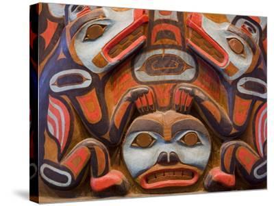Tlingit Housepost in Sitka National Historical Park, Sitka, Baranof Island, Southeast Alaska, USA-Richard Cummins-Stretched Canvas Print