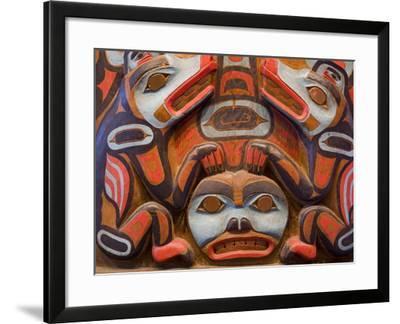 Tlingit Housepost in Sitka National Historical Park, Sitka, Baranof Island, Southeast Alaska, USA-Richard Cummins-Framed Photographic Print