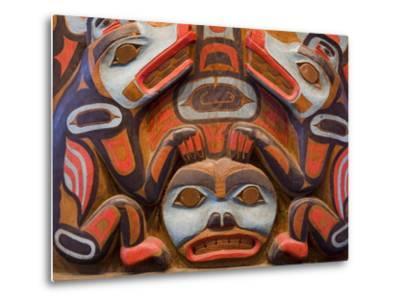 Tlingit Housepost in Sitka National Historical Park, Sitka, Baranof Island, Southeast Alaska, USA-Richard Cummins-Metal Print