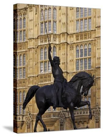 Richard the Lionheart Statue, Houses of Parliament, Westminster, London, England, Uk-Jeremy Lightfoot-Stretched Canvas Print