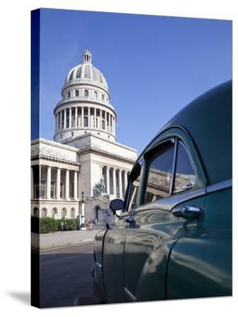 Old American Car Parked Near the Capitolio Building, Havana, Cuba, West Indies, Central America-Martin Child-Stretched Canvas Print