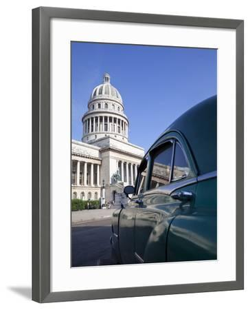 Old American Car Parked Near the Capitolio Building, Havana, Cuba, West Indies, Central America-Martin Child-Framed Photographic Print
