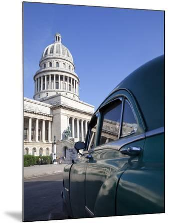 Old American Car Parked Near the Capitolio Building, Havana, Cuba, West Indies, Central America-Martin Child-Mounted Photographic Print