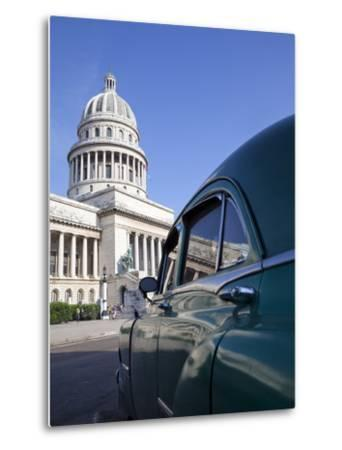 Old American Car Parked Near the Capitolio Building, Havana, Cuba, West Indies, Central America-Martin Child-Metal Print