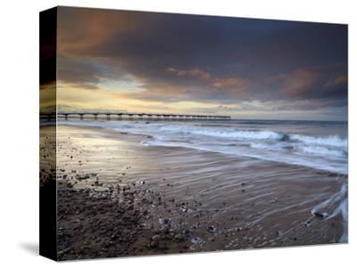 A Beautiful Spring Sunset at Saltburn, North Yorkshire, England, United Kingdom, Europe-Jon Gibbs-Stretched Canvas Print