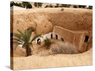 Troglodyte Pit Home, Berber Underground Dwellings, Matmata, Tunisia, North Africa, Africa-Dallas & John Heaton-Stretched Canvas Print