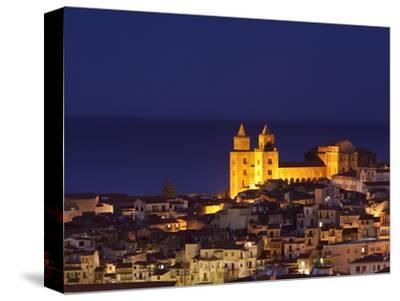 Norman Cathedral Lit Up at Dusk, Cefalu, Sicily, Italy, Mediterranean, Europe-John Miller-Stretched Canvas Print