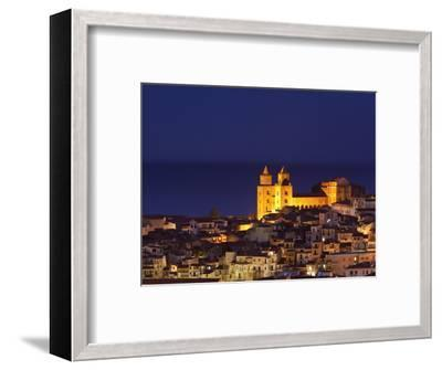 Norman Cathedral Lit Up at Dusk, Cefalu, Sicily, Italy, Mediterranean, Europe-John Miller-Framed Photographic Print