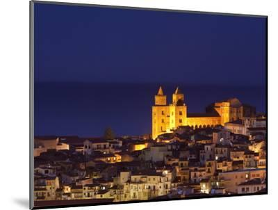 Norman Cathedral Lit Up at Dusk, Cefalu, Sicily, Italy, Mediterranean, Europe-John Miller-Mounted Photographic Print