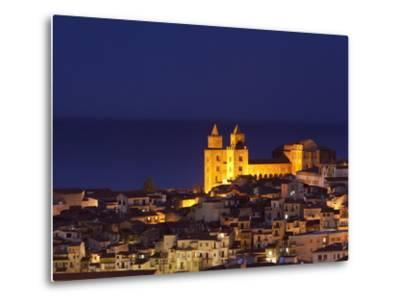 Norman Cathedral Lit Up at Dusk, Cefalu, Sicily, Italy, Mediterranean, Europe-John Miller-Metal Print