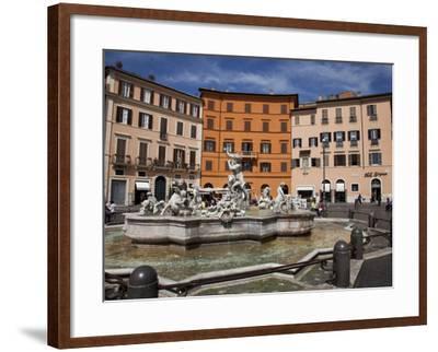 Neptune Fountain, Piazza Navona, Rome, Lazio, Italy, Europe-Carlo Morucchio-Framed Photographic Print