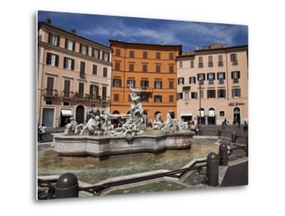 Neptune Fountain, Piazza Navona, Rome, Lazio, Italy, Europe-Carlo Morucchio-Metal Print