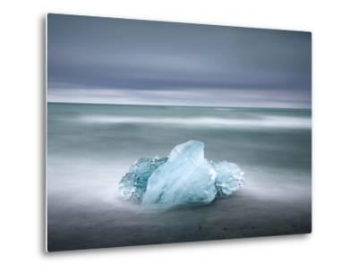 Piece of Glacial Ice Washed Ashore By the Incoming Tide Near Glacial Lagoon at Jokulsarlon, Iceland-Lee Frost-Metal Print