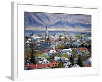 View Over Reykjavik With Mountains Looming in the Distance, Reykjavik, Iceland, Polar Regions-Lee Frost-Framed Photographic Print