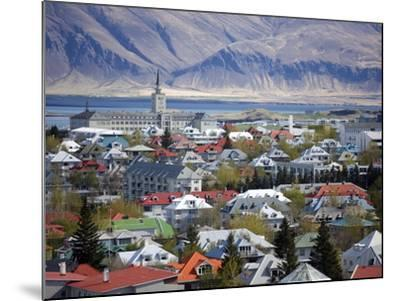 View Over Reykjavik With Mountains Looming in the Distance, Reykjavik, Iceland, Polar Regions-Lee Frost-Mounted Photographic Print