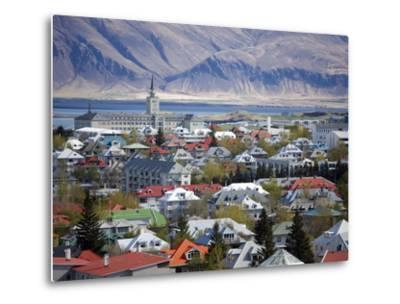 View Over Reykjavik With Mountains Looming in the Distance, Reykjavik, Iceland, Polar Regions-Lee Frost-Metal Print