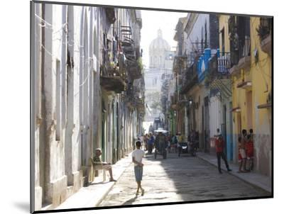 Typical Residential Street in Havana Vieja, Havana, Cuba-Lee Frost-Mounted Photographic Print