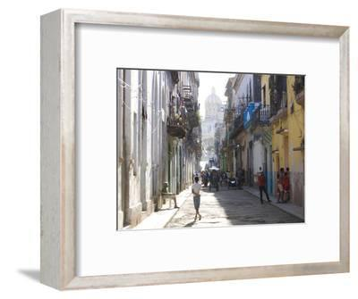 Typical Residential Street in Havana Vieja, Havana, Cuba-Lee Frost-Framed Photographic Print