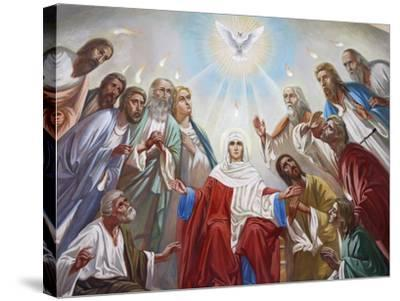 Fresco in the Russian Orthodox Church of the Holy Trinity, Jerusalem, Israel, Middle East--Stretched Canvas Print