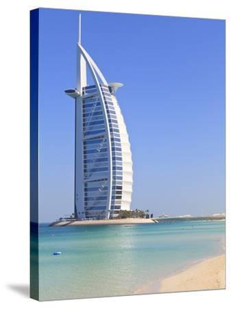 Burj Al Arab Hotel, Jumeirah Beach, Dubai, United Arab Emirates, Middle East-Amanda Hall-Stretched Canvas Print
