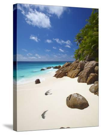 Deserted Beach, La Digue, Seychelles, Indian Ocean, Africa--Stretched Canvas Print