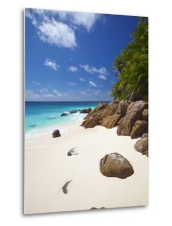 Deserted Beach, La Digue, Seychelles, Indian Ocean, Africa--Metal Print