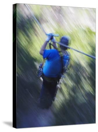 Man Sliding Down a Zip-Line, Storms River, Eastern Cape, South Africa, Africa--Stretched Canvas Print