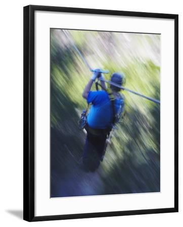 Man Sliding Down a Zip-Line, Storms River, Eastern Cape, South Africa, Africa--Framed Photographic Print