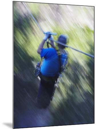 Man Sliding Down a Zip-Line, Storms River, Eastern Cape, South Africa, Africa--Mounted Photographic Print
