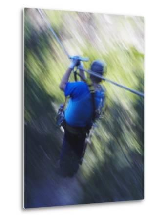 Man Sliding Down a Zip-Line, Storms River, Eastern Cape, South Africa, Africa--Metal Print