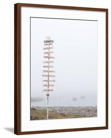Destination Board, Spitzbergen, Bareninsel, Svalbard, Norway, Arctic, Scandinavia, Europe--Framed Photographic Print