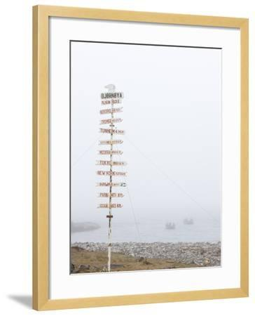 Destination Board, Spitzbergen, Bareninsel, Svalbard, Norway, Arctic, Scandinavia, Europe--Framed Photographic Print