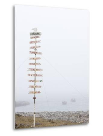 Destination Board, Spitzbergen, Bareninsel, Svalbard, Norway, Arctic, Scandinavia, Europe--Metal Print