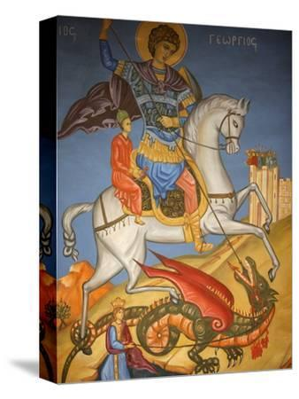 Icon Depicting St. George Slaying a Dragon in St. George's Orthodox Church, Madaba, Jordan--Stretched Canvas Print