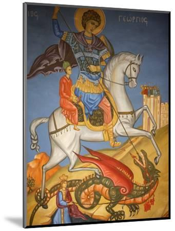 Icon Depicting St. George Slaying a Dragon in St. George's Orthodox Church, Madaba, Jordan--Mounted Photographic Print