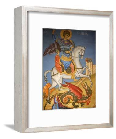 Icon Depicting St. George Slaying a Dragon in St. George's Orthodox Church, Madaba, Jordan--Framed Photographic Print
