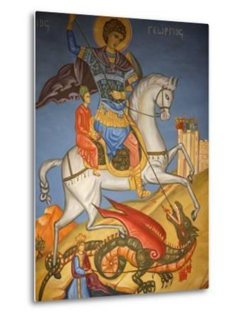 Icon Depicting St. George Slaying a Dragon in St. George's Orthodox Church, Madaba, Jordan--Metal Print